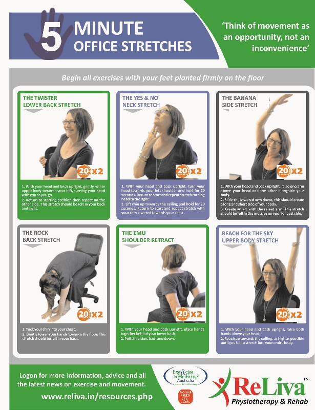 5 minute office stretch exercises: back, neck pain | reliva