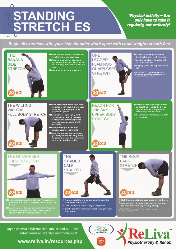 ReLiva stretching Exercises for back, neck pain in office, standing